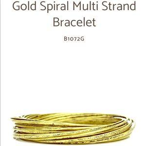 Gold Spiral Multi Strand Fashion Bracelet